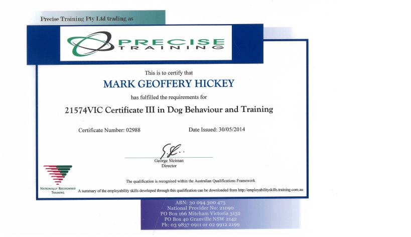 Dog Trainer Sydney Certification